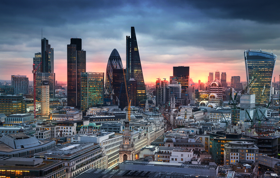 LONDON, UK - JANUARY 27, 2015: City of London, business and bank